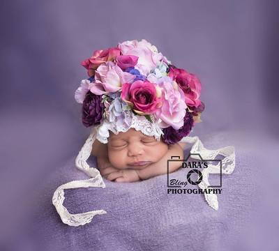 Weston Florida birth photographer newborn baby girl purple floral bonnet