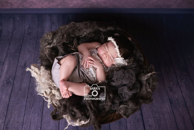 Plantation General Hospital birth photographer IVF newborn girl grey fur bowl
